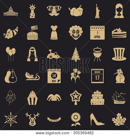 Folklore festival icons set. Simple set of 36 folklore festival vector icons for web for any design poster