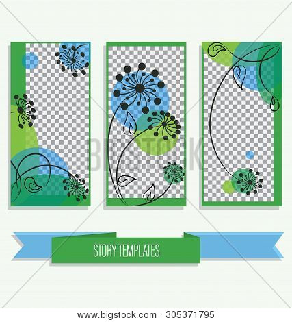 Trend Editable Template For Stories During A Walk. Gentle Blue-green Backgrounds For Social Networks