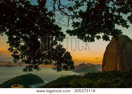 Rio De Janeiro, Brazil: Landscape With Panoramic View Of The City, Mount Corcovado As Seen From The