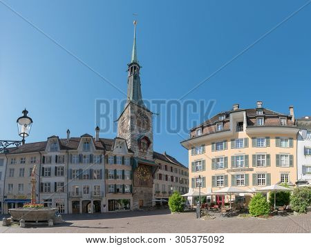 Solothurn, So / Switzerland - 2 June 2019: Historic Old Town In The Swiss City Of Solothurn With A V