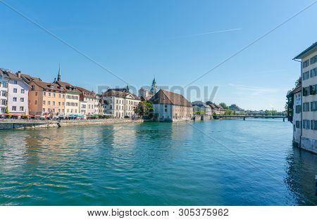 Solothurn, So / Switzerland - 2 June 2019: City Of Solothurn With The River Aare Panorama Cityscape