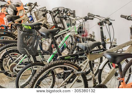 Singapore-jun 17 2017:old Bikes In Building Basement Car Park
