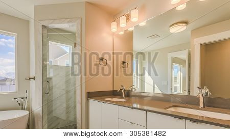 Panorama Modern Bathroom Interior With Double Sink Vanity Glass Door Shower And Bathtub