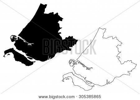 South Holland Province (kingdom Of The Netherlands, Holland) Map Vector Illustration, Scribble Sketc