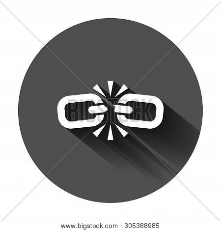 Broken Chain Sign Icon In Flat Style. Disconnect Link Vector Illustration On Black Round Background