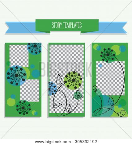 Trend Editable Template For Stories On Nature. Gentle Blue-green Backgrounds For Social Networks, St