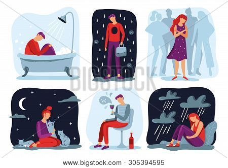 Feel Loneliness. Feeling Lonely, Sad Depressive Person And Social Isolation Vector Illustration Set