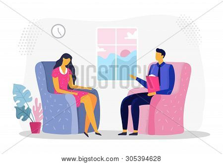 Female Psychotherapy Session. Woman In Depression, Psychiatry And Psychological Therapy. Psychologis