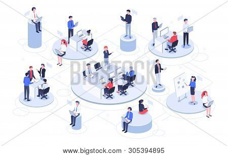 Isometric Virtual Office. Business People Working Together, Technology Companies Workspace And Teamw