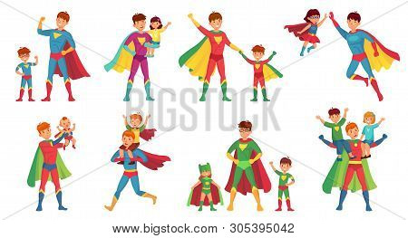 Cartoon Father Superhero. Happy Fathers Day, Super Parent With Kids And Hero Dad Vector Illustration
