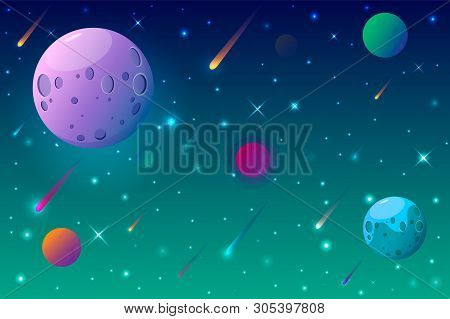 Outer Space Cartoon Background With Colorful Planets.