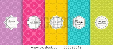 Vector Geometric Seamless Patterns. Set Of Bright Colorful Background Swatches With Modern Minimalis
