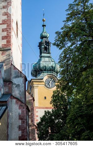 Banska Bystrica, Slovakia - August 07, 2015: Old Castle With Clock Tower On Sunny Day. Barbican. Det