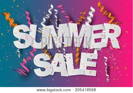 Summer Sale Banner Design Concept With Confetti And Ringlets On Blue And Pink Gradient Background..