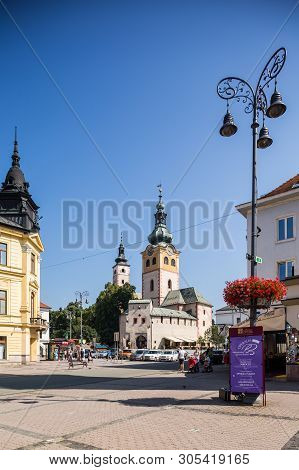 Banska Bystrica, Slovakia - August 07, 2015: Old Castle With Clock Tower On Sunny Day. Barbican.