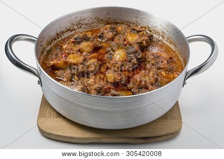 Isolated Pan With Oxtail Stewed Vaccinara