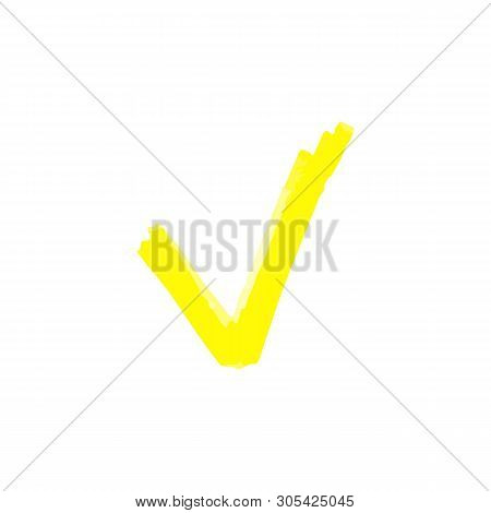 Chek Mark Of To Do List With A Yellow Marker Or Highlighter, Brush Or Pen.