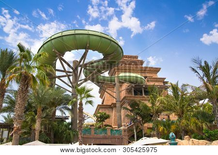 Dubai, Uae, United Arab Emirates - 28 May, 2019: Poseidon Tower With Slides In The Atlantis Aquavent