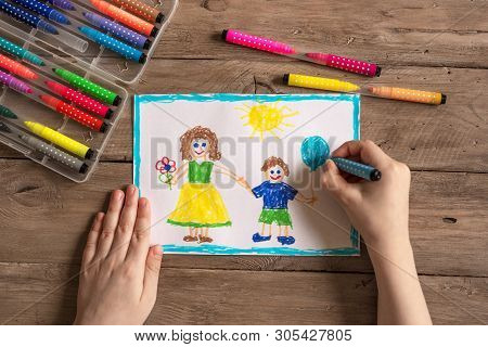 Children's drawing of family single mom and son. Incomplete family concept. poster
