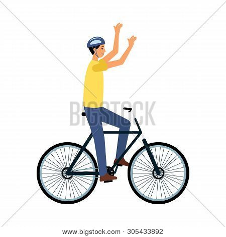 Man Bicyclist Riding On Bike Or Finishing Race Flat Vector Illustration Isolated.
