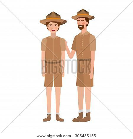 Forest ranger man and boy cartoon design, life protector nature fauna and green theme Vector illustration poster