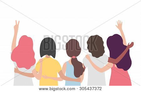 Diverse International Group Of Women Or Girl Hugging Together. Sisterhood, Friends, Union Of Feminis