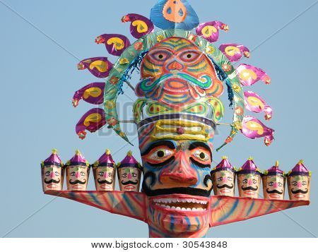 Dusehra, a festival of india, is celebrated in October month every is the symbol of victory of good over evil. Local fairs are organised in every big-small city where dummy of daemon king RAVAN is destroyed by God RAMA poster