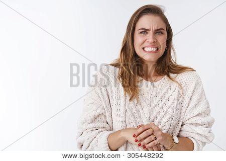 Woman Feeling Awkward Intense Feeling Problems, Making Huge Mistake Worrying Grimacing Wrinkle Nose