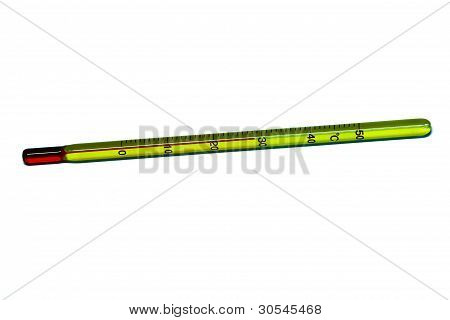 Glass mercury thermometer isolated