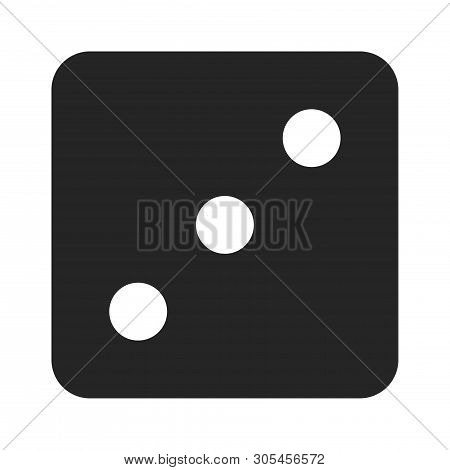 Dice Number Three Icon Isolated On White Background. Dice Number Three Icon In Trendy Design Style.