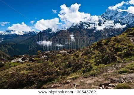 Ama Dablam and Thamserku peaks: Himalaya landscape. Pictured in Nepal poster