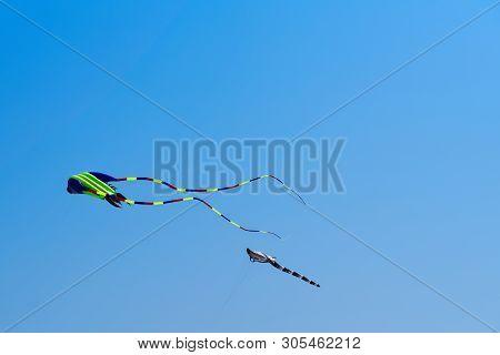 Kites Against Clear Blue Sky. Sankt Peter-ording Beach, Germany