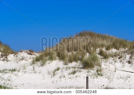 Grass Covered Dunes At The Beautiful White Sand Beach Of The Northern Sea In Sankt Peter-ording, Ger