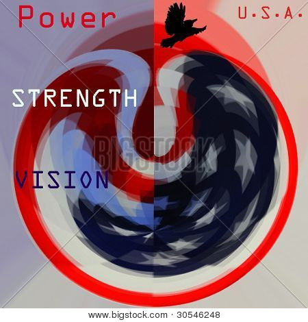 Patriotic sphereical design with text