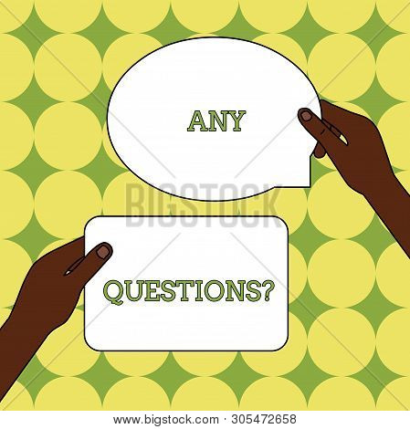 Text sign showing Any Questions Question. Conceptual photo Asking for inquiry Interrogation Clarification Two Blank Figured Tablets Signs Held in Hands One Above Other Text Space. poster
