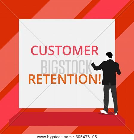 Word writing text Customer Retention. Business concept for Keeping loyal customers Retain analysisy as possible Back view young man dressed suit standing platform facing blank rectangle. poster