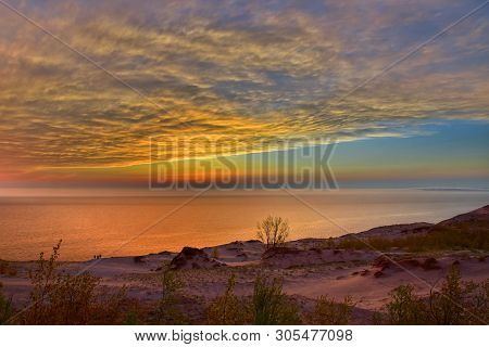 Hdr Image Of A Beautiful Sunset At Sleeping Bear Dunes National Lakeshore, Michigan, Usa
