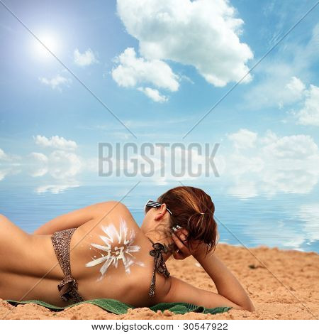 Suntan Lotion On Her Back Painted In Holiday
