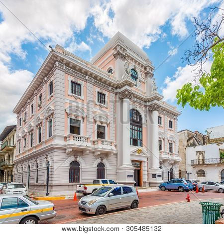 Panama City,panama - March 28,2019 - Building Of City Hall In Old District (casco Viejo)of Panama Ci