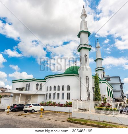 Panama City,panama - March 28,2019 - View At The Mosque In Panama City. Panama City Is Capital Of Pa