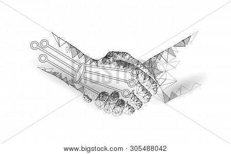 Low Poly Handshake Future Industrial Revolution Concept. Ai Artificial And Human Union. Online Techn