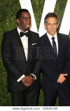LOS ANGELES - FEB 26:  Sean Combs; Ben Stiller arrive at the 2012 Vanity Fair Oscar Party  at the Sunset Tower on February 26, 2012 in West Hollywood, CA