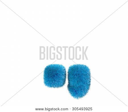 Comical Blue Furry Font Isolated On White - Period (full Stop) And Comma, Childhood Concept 3d Illus