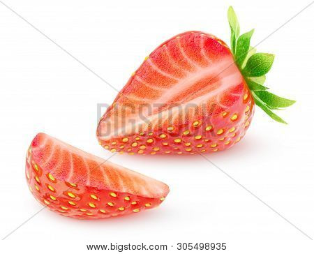 Isolated Strawberry. One Strawberry Fruit With Cut Out Slice Isolated On White Background With Clipp