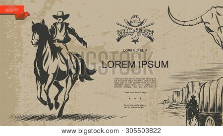 Vintage Monochrome Wild West Template With Cowboys Riding Horses Cart Crossed Revolvers Hat Sheriff