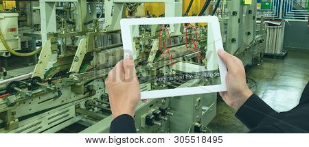 Iot Industry 4.0 Concept, Smart Factory Industrial Engineer Using Tablet With Augmented Mixed With V