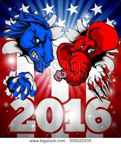 A Blue Donkey And Red Elephant Tearing Through The Background. American Politics 2016 Election Conce