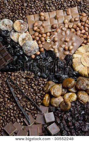 dried fruit with chocolate and coffee beans