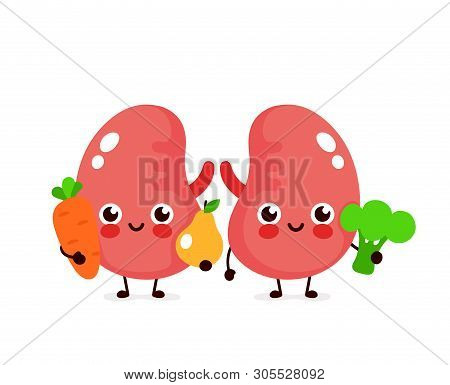 Cute Healthy Happy Kidneys Character With Broccoli,carrot And Pear. Vector Flat Cartoon Illustration