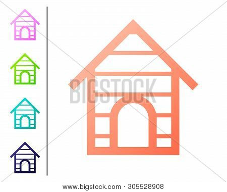 Coral Dog house icon isolated on white background. Dog kennel. Set color icons. Vector Illustration poster